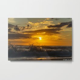 Sunset North Sea Waves Denmark Bjerregard Beach 5 Metal Print