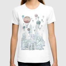Voyages Over New York Womens Fitted Tee LARGE White