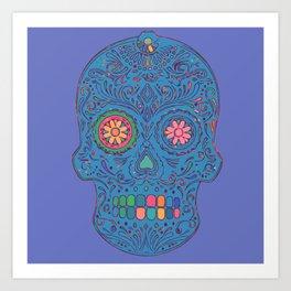 SKULL - BLUE Art Print