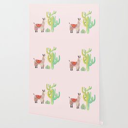 Cute alpacas with pink background Wallpaper