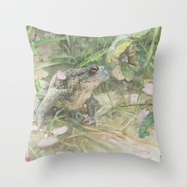 Toad with Cherry Blossom Petals Throw Pillow