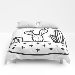 Cactus House Garden Black and White Comforters