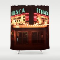 theater Shower Curtains featuring Night Lights Ithaca Theater by David Hohmann