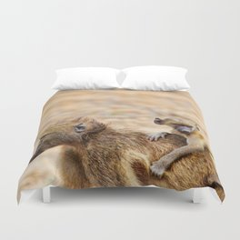 Cute monkey baby and mother Duvet Cover