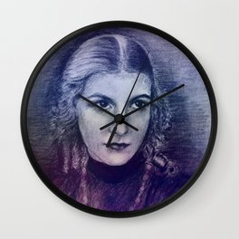 painting in blue -02- Wall Clock