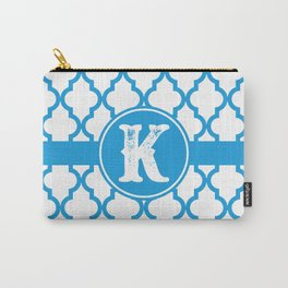Blue Monogram: Letter K Carry-All Pouch