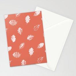 Oak leaves seamless pattern design, white leaves on terracotta background Stationery Cards