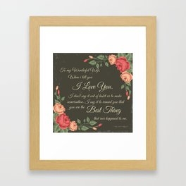 Best gift to wife say i love you Framed Art Print