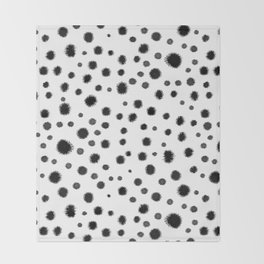 Ink drops splats splots inky texture painting abstract black and white minimal modern dorm college  Throw Blanket