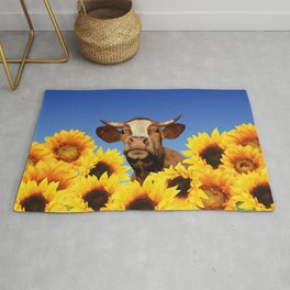 Happy Cow with Sunflowers Rug