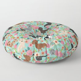 Dachshund floral dog breed pet patterns doxie dachsie gifts must haves Floor Pillow