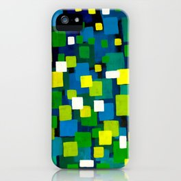 "Original Abstract Acrylic Painting by  ""City Lights"" Colorful Geometric Square Pattern Gre iPhone Case"