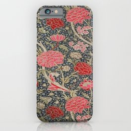 William Morris Floral Red and Pink Art Nouveau Textile Patter iPhone Case
