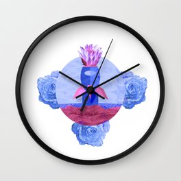Rocket with Roses and Lotus Flower Art Print Wall Clock