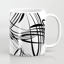 Pattern from black lines on a white background in vintage style. Coffee Mug