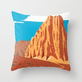 Cathedral Valley Loop in Capitol Reef National Park South-Central Utah United States WPA Poster Art Color Throw Pillow