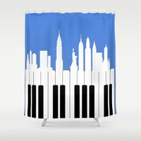 new york Shower Curtains featuring New York, New York by mark ashkenazi