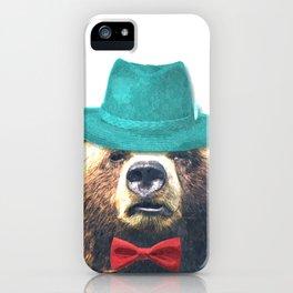 Funny Bear Illustration iPhone Case