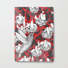 Hummingbird and fuchsia, red background Metal Print