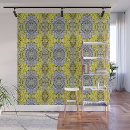 Yellow and Grey Abstract Pattern Wall Mural