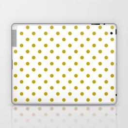White and Gold Polka Dots Laptop & iPad Skin