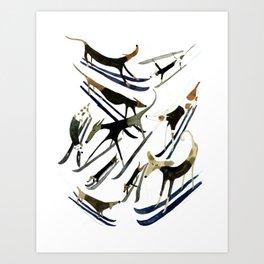Beatnik Dogs Skiing Art Print