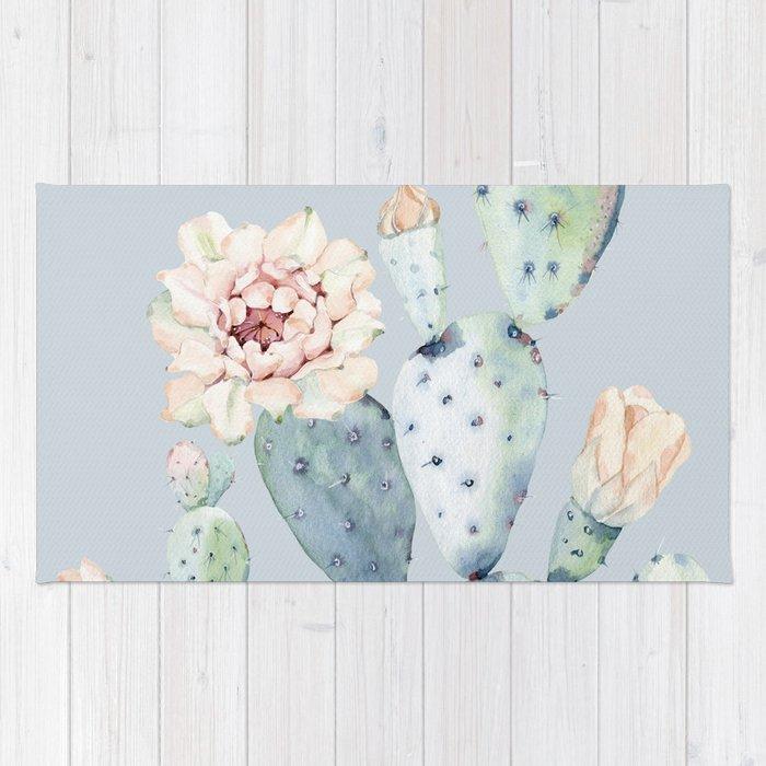 Prettiest Rose Cactus Blue Rug
