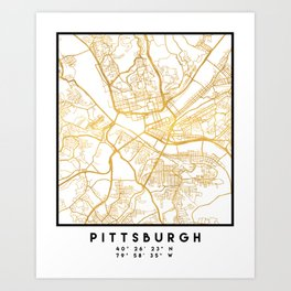 PITTSBURGH PENNSYLVANIA CITY STREET MAP ART Art Print