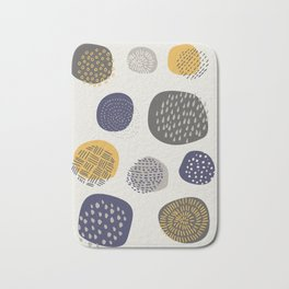 Abstract Circles in Mustard, Charcoal, and Navy Bath Mat