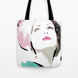 Woman with Hat Portrait, Fashion Painting, Fashion IIlustration, Vogue Portrait, Fashion Beauty, #11 Tote Bag