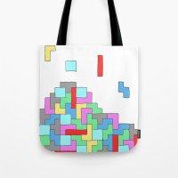 tetris Tote Bags featuring Tetris by #dancingpenguin