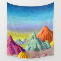mountains Wall Tapestries featuring mountains  by Robert Deutsch