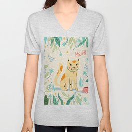 Meow cat - yellow and green Unisex V-Neck