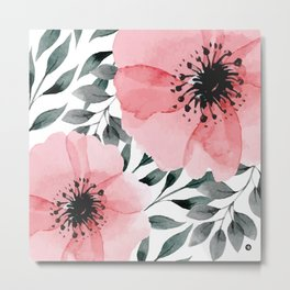 Big Watercolor Flowers Metal Print