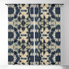 Deep Indigo Circle Shibori Blackout Curtain
