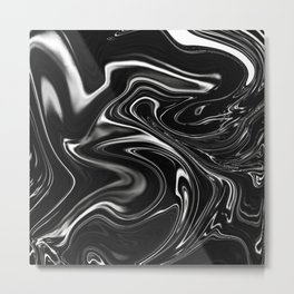 Black Gesso Paint Abstract Metal Print