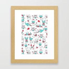 One dog and his friends Framed Art Print