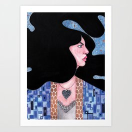 Blue(Klimt Inspired) Watercolor Painting by Grimmiechan Art Print
