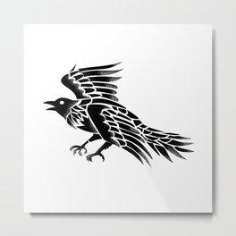 Raven Flying Side Tattoo Metal Print