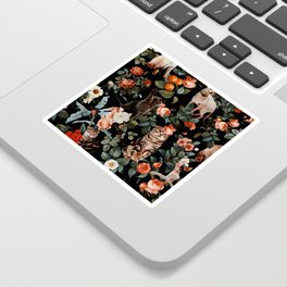 Cat and Floral Pattern II Sticker