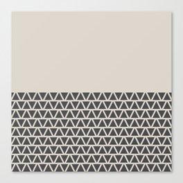 Triangles half Pattern (Black, Cream) Canvas Print
