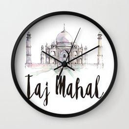 Taj Mahal watercolor Wall Clock