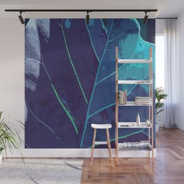 Blue Leaf Wall Mural