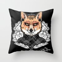 mr fox Throw Pillows featuring Mr Fox by Miss Cherry Martini