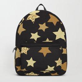 Golden Stars on Black Background Pattern Backpack