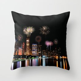Chicago night skyline with fireworks. Throw Pillow