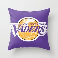 lakers Throw Pillows featuring L.A. Vaders by Ant Atomic