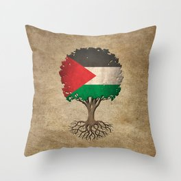 Vintage Tree of Life with Flag of Palestine Throw Pillow