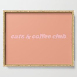 cats & coffee club Serving Tray