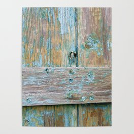 Turquoise Barn Wood Distressed Poster